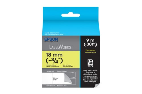 Epson LabelWorks Fluorescent LC Tape Cartridge ~3/4-Inch Black on Yellow (LC-5YBF9)