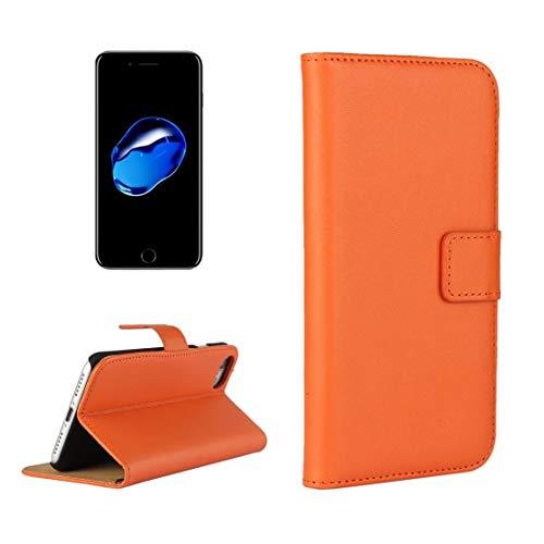 Wdckxy HNZZ - Funda de piel para iPhone 8 y 7, con ranuras para tarjetas y cartera, color naranja