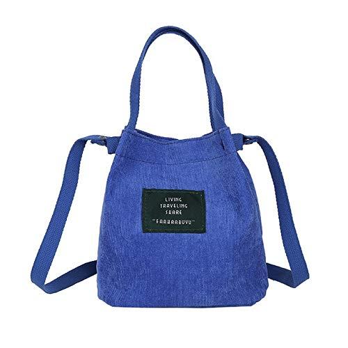 Mdsfe Mini Bolso de Hombro de Pana para Mujer Nuevo Bolso de Lona pequeño para Mujer Casual Vintage Monedero Bolsa de Tela para niña - Azul