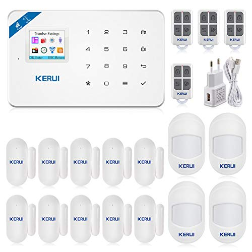 KERUI W18 Sistema Alarma Hogar WiFi/gsm Control Remoto por SMS/Call/App, Kits Alarma Antirrobo Inalámbrico DIY con Mini Detector/Sensor Movimiento de Alarma Puerta sin cuotas para Casa/Tienda/Oficina