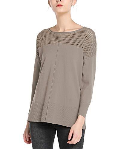 APART extravaganter Damen Pullover mit Gitterstrick, breiter Rippsaum, seitlich geschlitzt, Taupe, M
