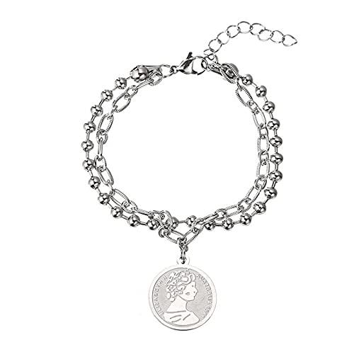 Collar Colgante Diseño personalidad pulsera de monedas de doble capa colgante de acero de titanio femenino hip hop dance cool estudiante pulsera Navidad Día de la Madre Día de San Valentín regalo