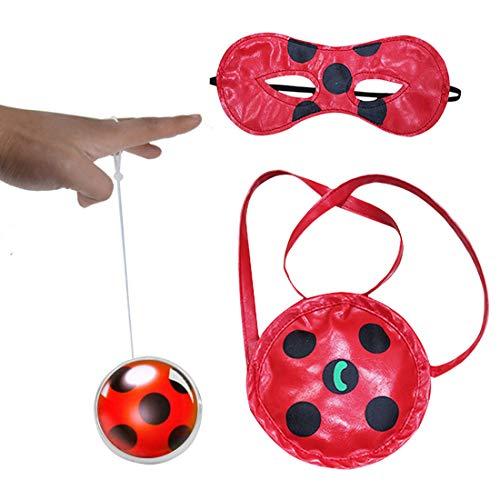 Geenber Ladybug Yo-Yos Ball Spielzeug Set für Kinder mit Handtasche und Augenmaske Kreative Jonglier Cosplay Spielzeug für Mädchen oder Kinder Action-Figuren Geburtstagsgeschenk