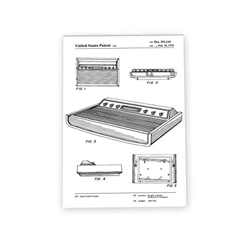 Wizbit Art & Design Atari 2600 - Póster retro de patente para...