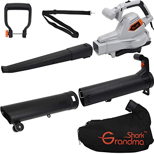 Grandma Shark 3000W 3 in 1 Leaf Blower, Garden Leaves Vacuum Cleaner, Support for Breaking Leaves and Having a Large Collection Bag (Grey)