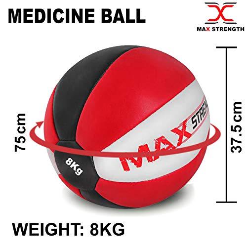 Max Strength - Balón medicinal de piel de maya resistente (8 kg, 10 kg, 12 kg), negro /rojo