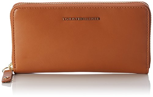 Tommy Hilfiger dames Effortless Leather Large Za Wallet portemonnee, rood (Cognac), 2.5x10x20,5 cm