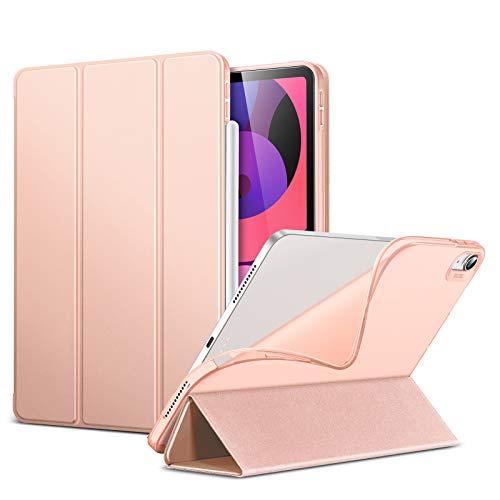 ESR iPad Air 4 ケース 2020 iPad 10.9インチ オートスリープ ウェイク対応 鑑賞 タイピングスタンドモード ゴム製カバー付き 柔軟性抜群 TPU背面 リバウンドスリムスマートケース ローズゴールド