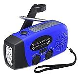 [2021 Upgraded Version] Tiemahun Solar Emergency Hand Crank Self Powered AM FM NOAA Weather Radio with LED Flashlight, 2000mAh Power Bank Battery Display(Blue)