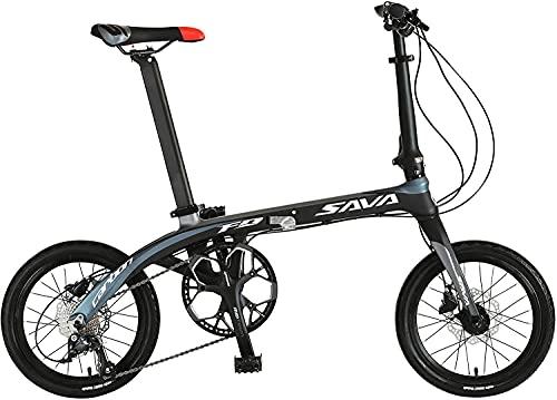 SAVANE(サヴァーン) Carbon8 FDB169S 東レT700カーボンフレーム 16インチ 折りたたみ自転車 ブラック/グレー シマノSORA9段変速 前後油圧ディスクブレーキ 89213-0199