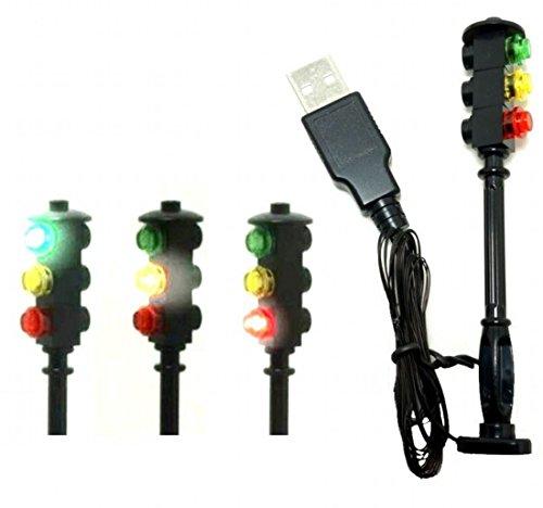 ARUNDEL SERVICES EU Semáforo Para modelos lego Led luces de señal Luces de carretera kit de luz lego luces lego Pueblo Pueblo Bloques de construcción Compatible con Lego Mini figuras
