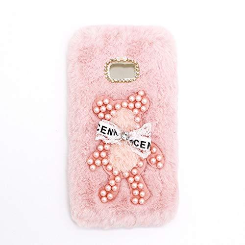 YHY Funda Teléfono Pearl Bear Plush para Samsung Galaxy C9 Pro Carcasa De Felpa De Silicona Suave y Elegante La Piel Rosado