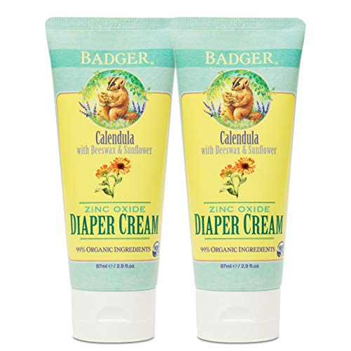 Badger - Zinc Oxide Diaper Cream, Calendula with Beeswax & Sunflower, Diaper Rash Cream, Organic Diaper Cream, Diaper Rash Treatment, Baby Rash Cream, 2.9 fl. oz. Tube (2 Pack)