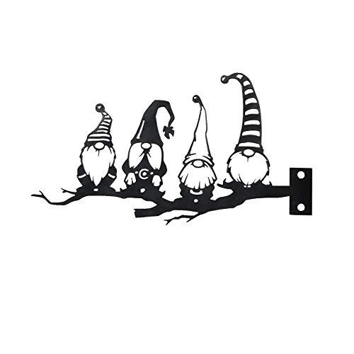 1 adorno de gnomo de árbol de jardín de metal, acero plateado con rama de tornillo, arte de hierro, lindo conejito enano, para fiesta de primavera al aire libre decoración del hogar