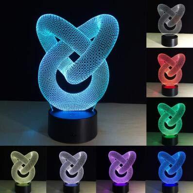 Lámpara de mesa de ilusión 3D creativa Luz de noche LED Tubo abstracto Gráficos geométricos Acrílico Novedad Decoración del hogar