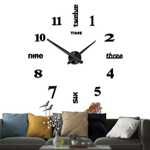 Silenciar DIY Frameless Gran Reloj De Pared Números 3D Relojes De Pared Espejo Pegatina Para Ministerio Del Interior Decoraciones (Negro-14)