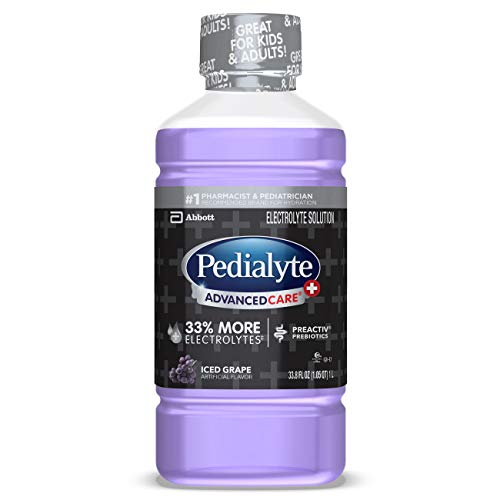 Pedialyte Advanced Care Pedialyte AdvancedCare Plus Electrolyte Drink with 33% More Electrolytes and has PreActiv Prebiotics, Iced Grape, 1 Liter, 4 Count