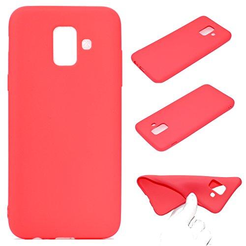 LeviDo Coque Compatible pour Samsung Galaxy A6 2018 Étui Silicone Souple Bumper Antichoc TPU Gel Ultra Fine Mince Caoutchouc Bonbons Couleurs Design Etui Cover, Rouge