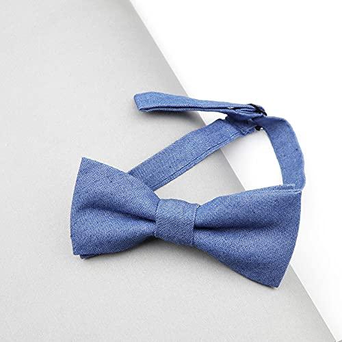 XKMY Pajarita ajustable de color sólido para bebés y niños, pajarita de mezclilla para niños, moño de algodón para esmoquin (color: 2)