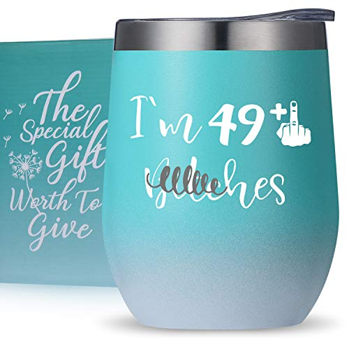 best gifts for co workers under 50 50th Birthday Gifts Turning 50 Year Old Birthday Gifts for Wife, Mom, Sisters, Her, Friends, Coworkers -I'm 50 Bch -Wine Tumbler Birthday Mug Cup