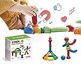 Stick-O magnetische Bausteine für Kinder ab 1 Jahre, kreatives Konstruktionsspielzeug, Lernspielzeug mit Magnet, 36 Modelle für Mädchen und Jungen, Montessori Spielzeug, 20 Teile Set,