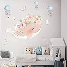 Holly LifePro Ocean Fish Wall Decal,Under The Sweet Pink Whale Jellyfish Wall Stickers for Kids Room Living Room Cafe Classroom Wall Decor Style-Two