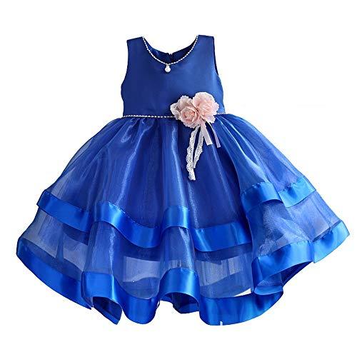 Owenqian Kleider für Mädchen-Party Mädchen Elegante ärmellose Spitze Tüll Tutu Lange Prinzessin Weihnachten langes Kleid Blumenmädchen Kleid Tüll EIN Wort Rock Kind Geburtstagsfeier (Size : 7)