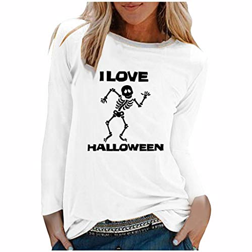 Women's Halloween The Skeleton Printed Round Neck Pullover Tops White