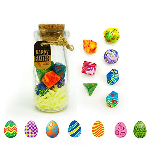 Bescon Easter Dice Polyhedral Dice 7pcs RPG Set in Glass Jar, RPG...