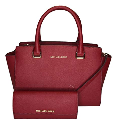Bundle of 2 items: MICHAEL Michael Kors Selma MD TZ Satchel bundled with Michael Kors Jet Set Travel Flat Wallet zip top closure Saffiano leather satchel, double top handles, gold/silver hardware and detail, front logo plate Interior : one main compa...