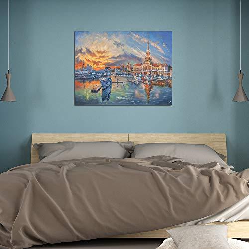 SADHAF Paisaje arquitectónico abstracto lienzo pintura al óleo lienzo impresión decoración de la habitación de los niños Arte mural A4 60x80cm