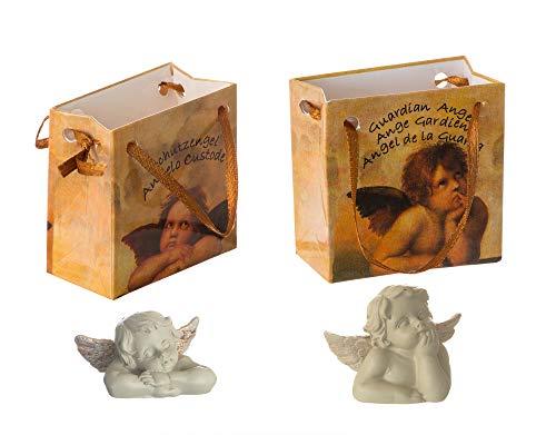 BigDean 24x Schutzengel in Tüten - Glücksbringer Engels-Figur - Kleine Engel für Weihnachten, Neujahr, Geschenke - Engelfiguren aus Polyresin