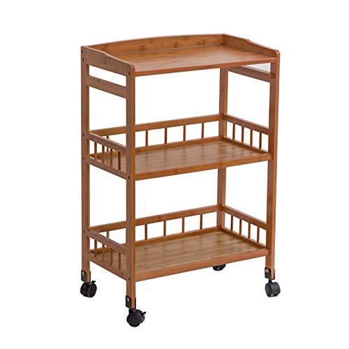 Carro de decoración de muebles para el hogar con ruedas Carro de salón de belleza de 3 niveles para spa, tatuaje, cocina de hotel, carro de catering con rueda de freno universal Carro de bambú para