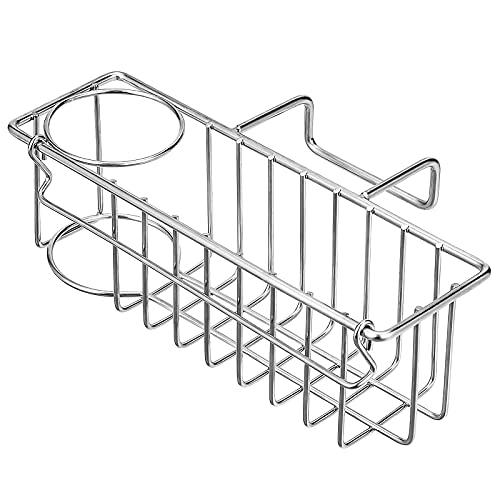 3-in-1 Sponge Holder for Kitchen Sink, Sponge Holder + Brush Holder + Dish Cloth Hanger, Hanging Sink Caddy, 304 Stainless Steel in-Sink Organizer Rack Basket
