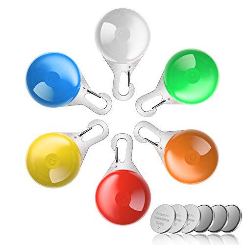 MENNYO Collar LED Perro, Luz Collar Luminoso Perro 6 Luces de Colores de Seguridad Luminoso Impermeable para Mascotas por Caminar por la Noche, 6 Pilas + 6 Pilas de Repuesto