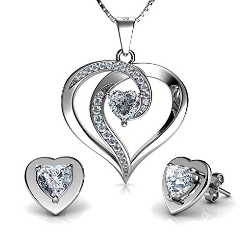 DEPHINI - Elegant Necklace & Heart Earrings SET - 925 Sterling Silver - CZ Crystal Studs & Pendant - 18' Rhodium Plated Silver Chain