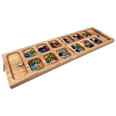 Best Chess Set Vicente Oak Wood Folding Mancala Board Game – 18 Inch Set