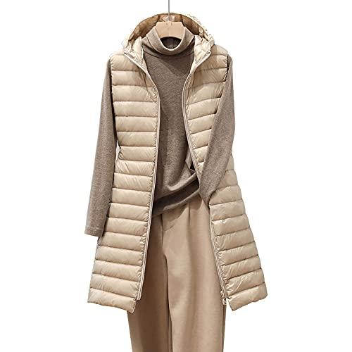 Beudylihy Giubbotto invernale da donna con cappuccio, senza maniche, caldo, con tasche, I2 beige, XXXL