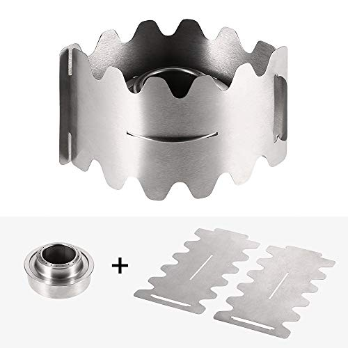 Check Out This MEIZHIYUE Portable Outdoor Alcohol Backpacking Cooking Stove Stand Windscreen Wind Shield Camping Hiking Stove Stand with Windproof Plate