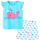 Toddler Girl's Summer Clothes,Cotton Whale Short Sleeve T-Shirt and Shorts Outfit Set Blue 3t