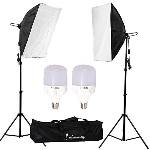 Abeststudio 50W 5500K Softbox kit d'éclairage continu pour studio photo, Boîte à lumière 50x70cm Soft Box,2x 25W LED Ampoule,2M Adjustable Light Stand with Carry Bag