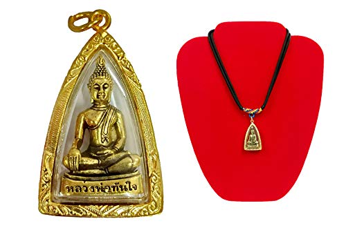 Thai Buddha Amulet Pendant Lp Phra Chinnaraj Jewelry Gold Holy Protect Lucky Success With Necklace
