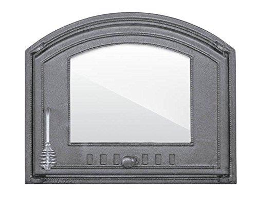 Home&Wood Pizzaofentür Premium 485x410 Backofentür aus Gusseisen mit Glass Offentür Brotofentür/Recht/