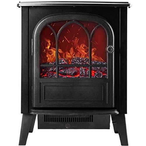 Calefactor Chimenea eléctrica chimenea con madera realista 3D efecto de llama de fuego y 2 ajustes de calor - calentador independiente portátil 2000W fuego realista con efecto carbón whiteelectric fue