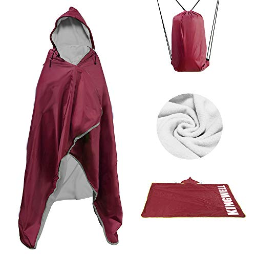 MordenApe Outdoor Stadium Blanket, Waterproof Windproof Portable Camping Blanket, Hooded Warm Blanket for Cold Weather, Camping, Sports, Travel (Dark Red, 58' x 79')