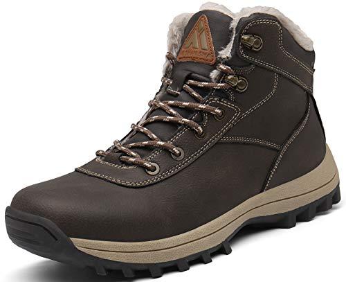 Mishansha Hombre Botas de Nieve Invierno Botines Senderismo Impermeables Deporte Trekking Zapatos Fur Forro Aire Libre Boots,New Marrón 43 EU