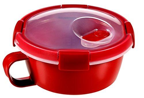 CURVER | Smart Mug micro-ondes 0.6L, Rouge, 15,7 x 15,7 x 9 cm, Plastique