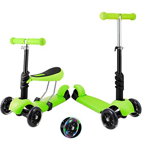 Patinete de 3 ruedas para niños pequeños y niñas, 2 en 1, con asiento desmontable, ruedas de luz LED, manillar de aluminio regulable en altura, base antideslizante, color verde