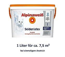 ALPINA Alpina white silk latex 1 liter hard-wearing latex paint Wall paint White silk gloss