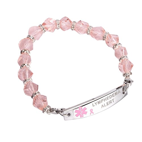 Medical ID Pink Ribbon Beaded Stainless Bracelet Lymphedema No BP IV (8)